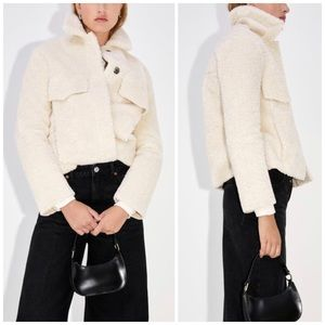 NEW Zara Double Faced Teddy Shirt Jacket Shacket